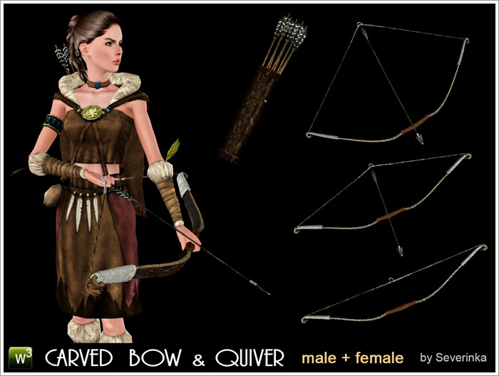 Accessory Carved Bow & Quiver