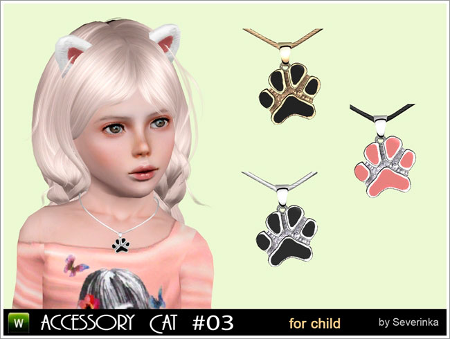 Necklace + Earrings (set Little kitten for child)
