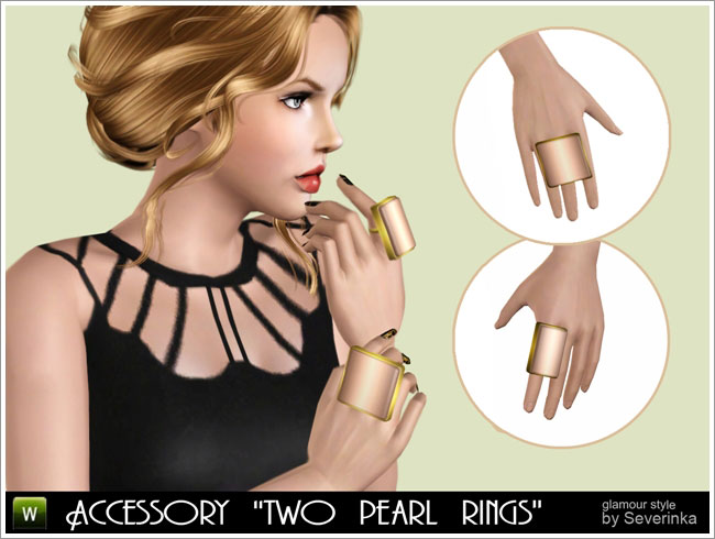 "Accessory ""Two pearl rings"""
