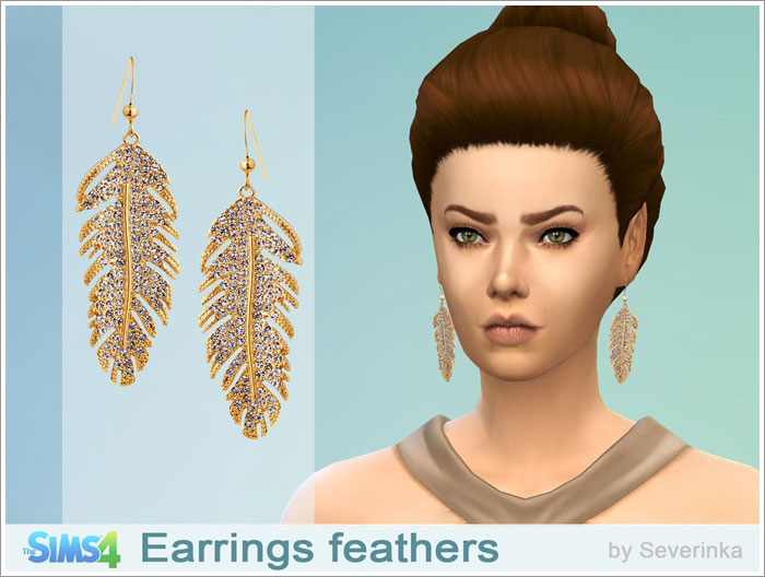 Earrings feathers by Severinka