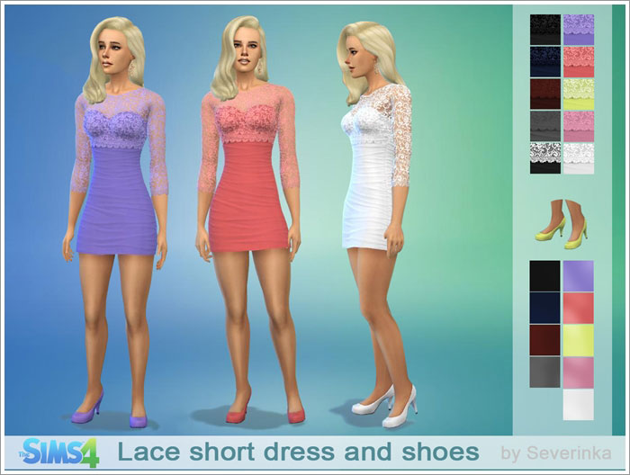 Lace short coctail dress and shoes by Severinka